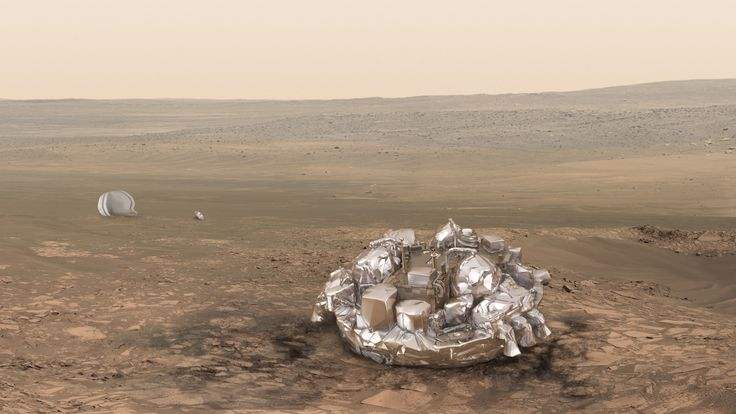 Artist's impression of the Schiaparelli module on the surface of Mars
