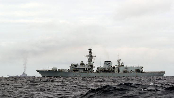 HMS Richmond (front) and Admiral Kuznetsov