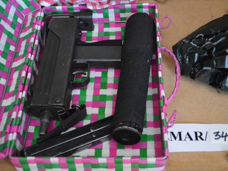 A Mac-10 sub-machine gun found wrapped in a Marks and Spencer bag in a picnic basket in a wardrobe at Leslie Cooper's home. The weapon was used to murder Abdul Hadi Arwani.