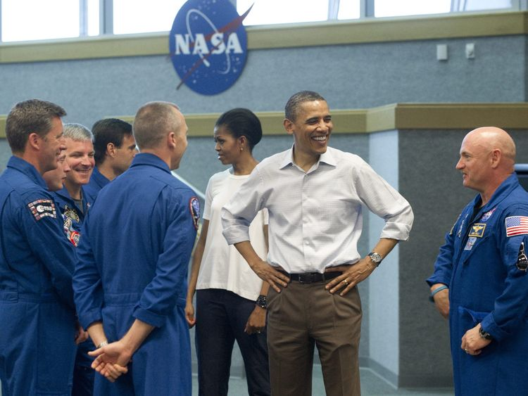 Barack Obama and First Lady Michelle Obama at the Kennedy Space Center in Cape Canaveral, Florida, in 2011