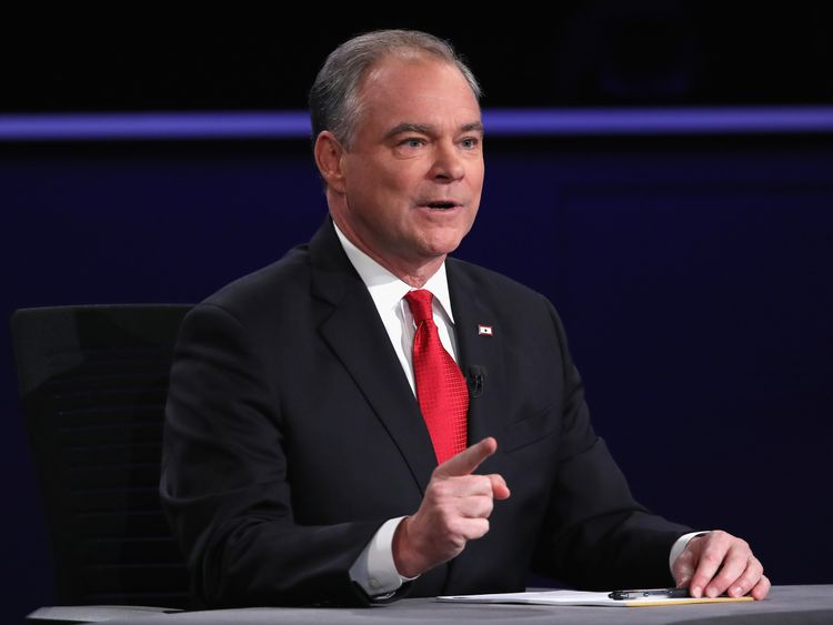 Democratic vice presidential nominee Tim Kaine speaks during the Vice Presidential Debate with Republican vice presidential nominee Mike Pence at Longwood University on October 4, 2016