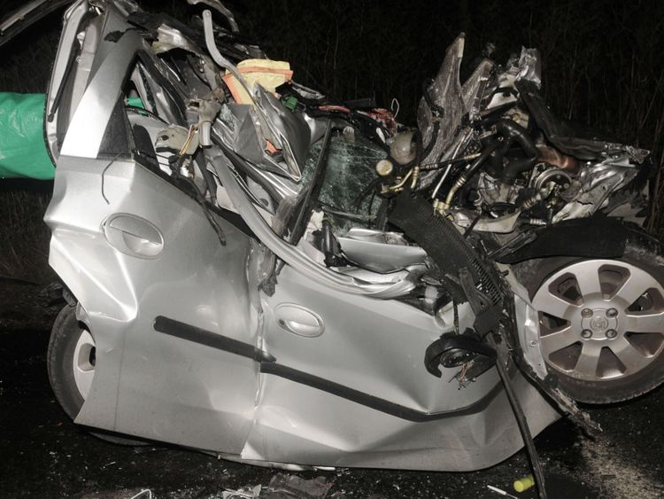 The car was crushed to a third of its size