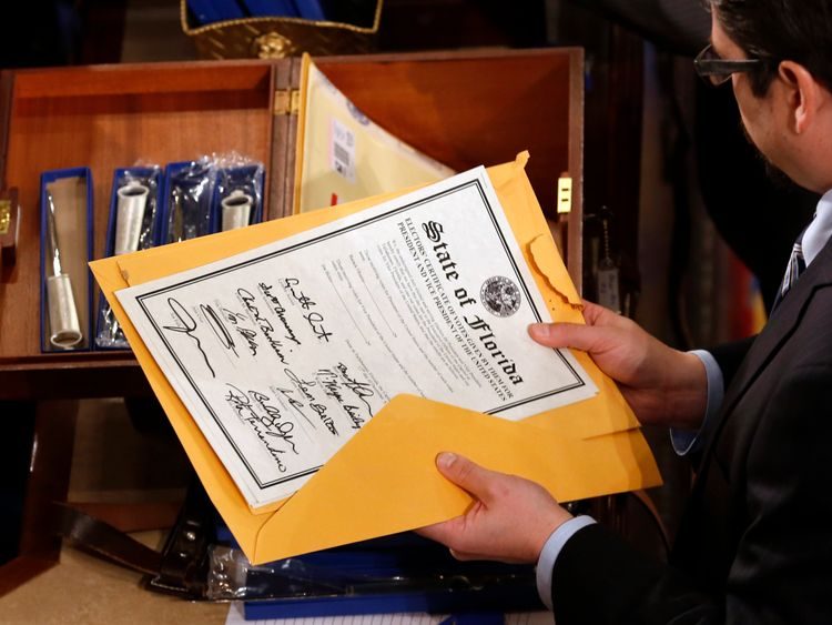 Each state sends a vote certificate to verify its Electoral College result