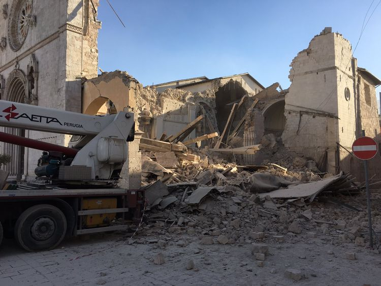 The destroyed Basilica of St Benedict in Norcia. Picture: @monksofnorcia