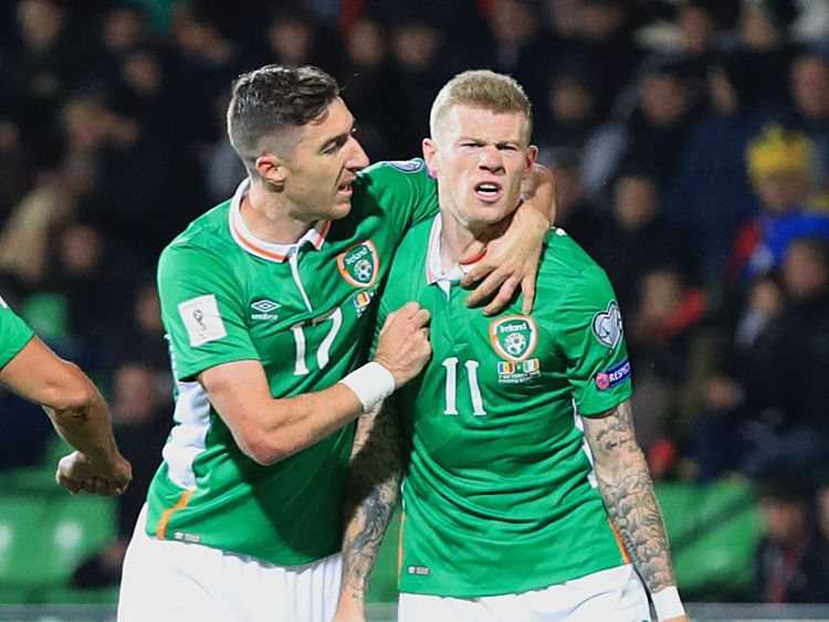 Stephen Ward celebrates with James McClean