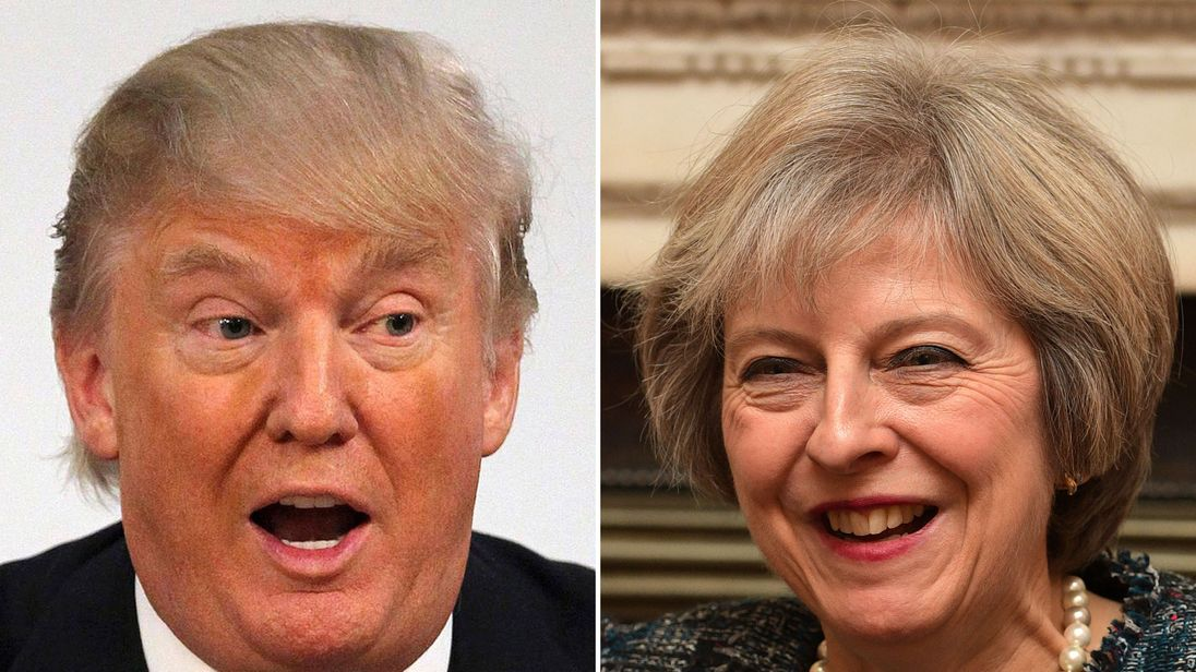"File photos of Donald Trump and Theresa May, as Nigel Farage has insisted Mr Trump will have to deal with Mrs May, despite her top team being ""rude"" about him"