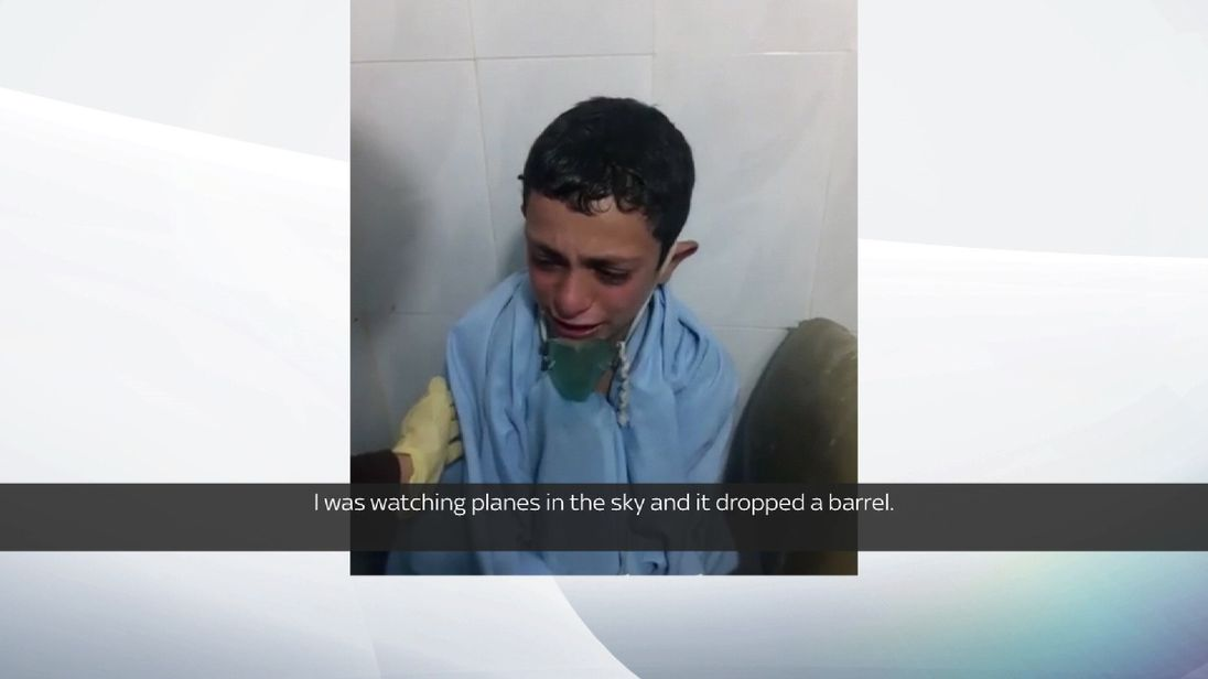 Small boy was an alleged victim of a chemical attack on Friday 18th