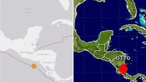 Images from the USGS and the NHC show the positions of the 7.0 earthquake and Hurricane Otto