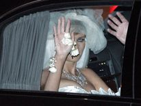 Melania Trump waves after her wedding ceremony in Florida in 2005