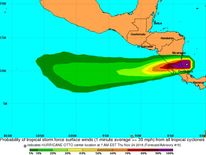 A National Hurricane Center map shows the predicted speeds as Hurricane Otto heads across Nicaragua and Costa Rica