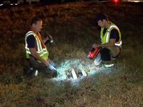 Captain Charlie Smith and Josh Moore at the drain where there found Bryce
