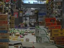 The quake shook supermarket products off the shelves