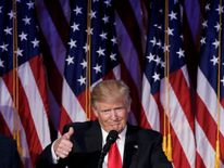 U.S. President-elect Donald Trump addresses supporters