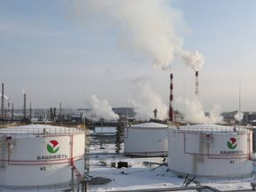 A general view of oil tanks at the Bashneft-Ufimsky refinery plant
