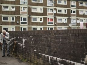 ROCHDALE, UNITED KINGDOM - AUGUST 06: A general view of homes on the Falinge Estate, which has been surveyed as one the most deprived areas in England for five years in a row, on August 06, 2013 in Rochdale, England. in Rochdale, United Kingdom.