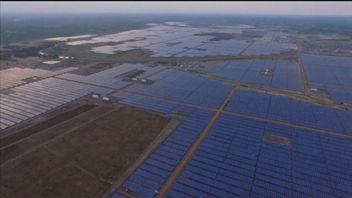 Aerial view of the world's largest solar farm