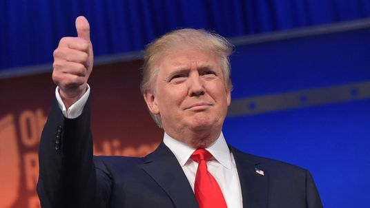 Donald Trump gives a thumbs up