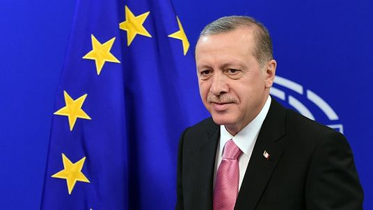 Turkey's President Recep Tayyip Erdogan iat the European Parliament in Brussels, in October