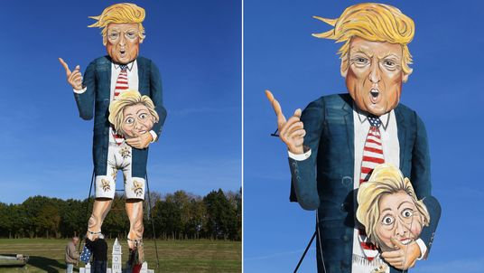 The Edenbridge Bonfire Society celebrity guy which has been unveiled as US Presidential hopeful Donald Trump in Edenbridge, Kent