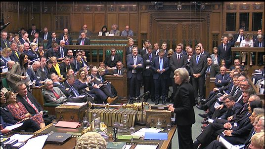 Theresa May fields questions in Parliament