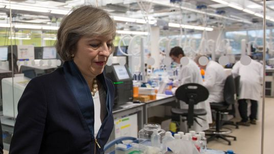 Theresa May visits the Wellcome Genome Campus in Cambridge