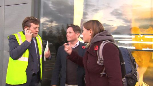 Anna Turley MP confronts a member of Sports Direct staff