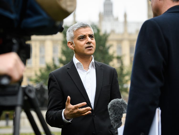 London Mayor Sadiq Khan is interviewed at Westminster on October 25, 2016 in London, England