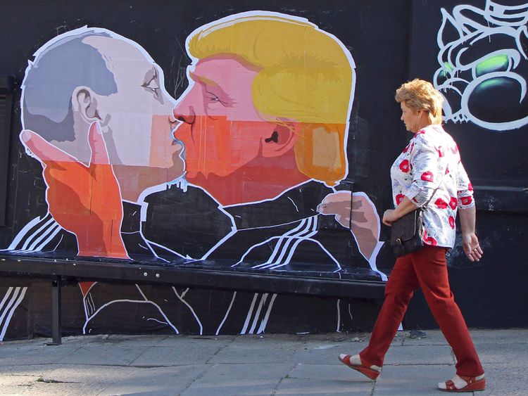 A mural on a restaurant wall in Lithuania showing Donald Trump and Vladimir Putin, which followed warm campaign comments by the former towards Russia