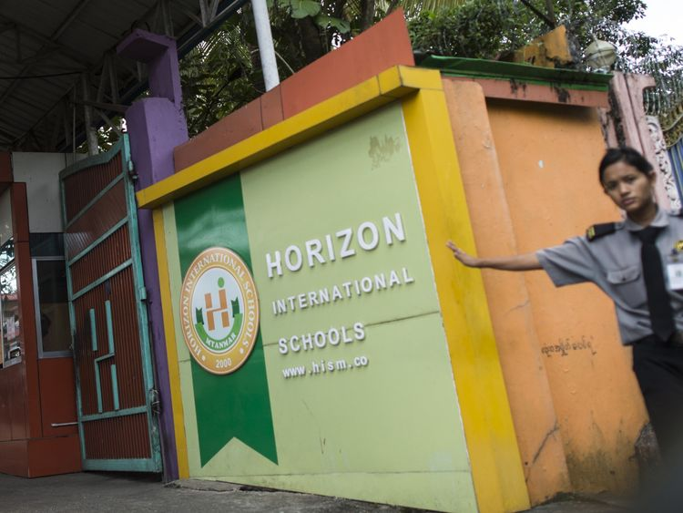 The Horizon International School in Yangon where the killed British teacher Gary Ferguson worked