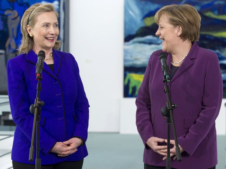 Hillary Clinton was expected to make a beeline for Angela Merkel