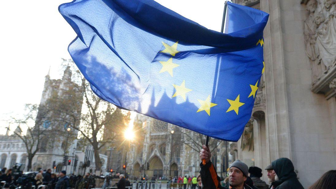 EU flag flown outside Supreme Court