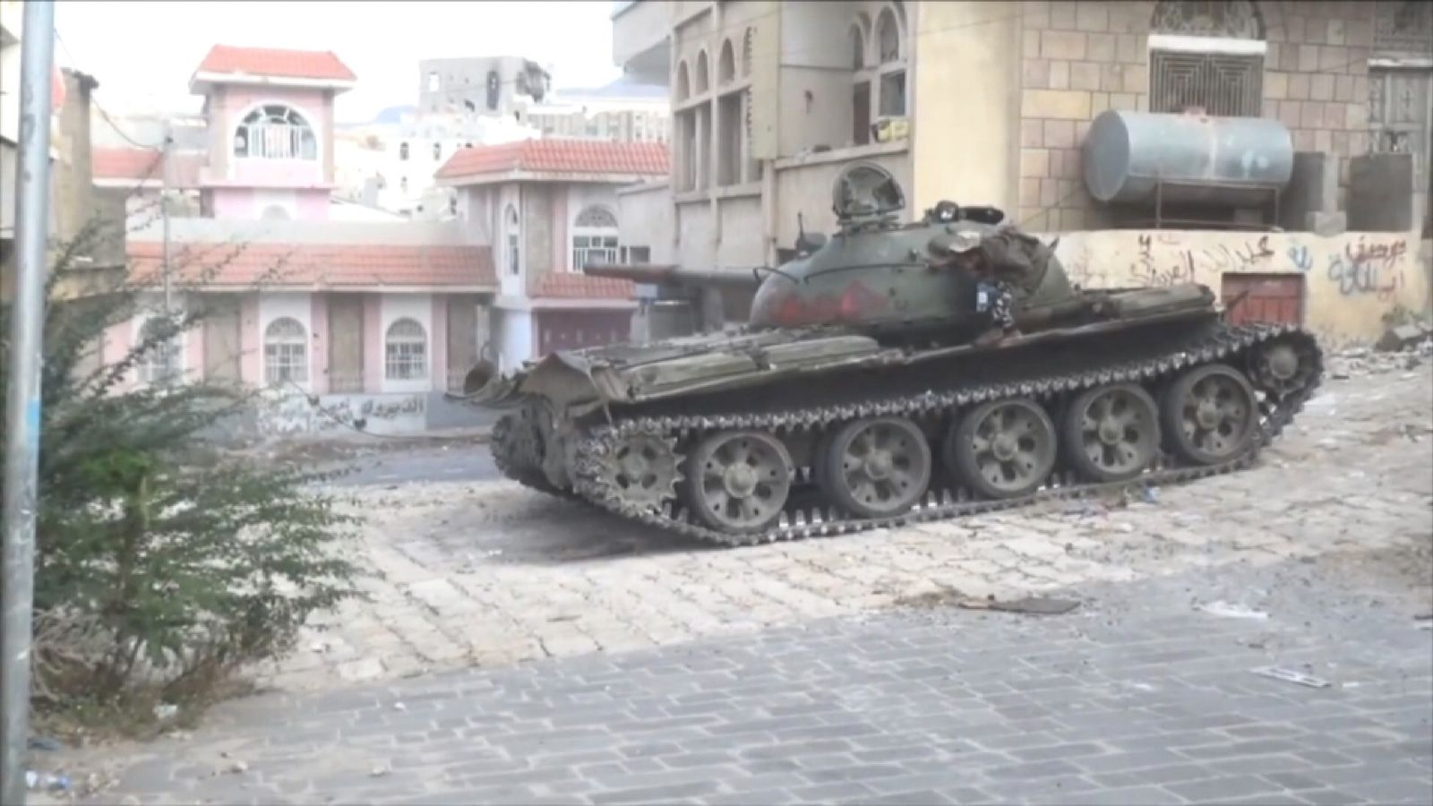 Tank in city of Taiz in Yemen