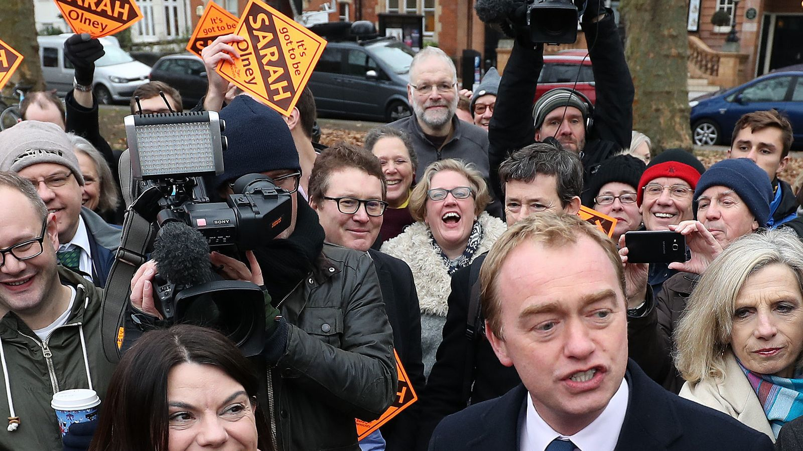 Newly-elected Liberal Democrat MP Sarah Olney with party leader Tim Farron on Richmond Green