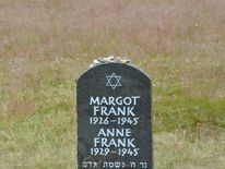 A memorial to Anne Frank and sister Margot at the former Bergen-Belsen camp
