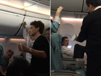 Richard Marx helps restrain an unruly passenger on a flight. Pics: Facebook/Daisy Fuentes