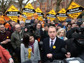 Tim Farron and newly-elected Lib Dem MP Sarah Olney speak on Richmond Green