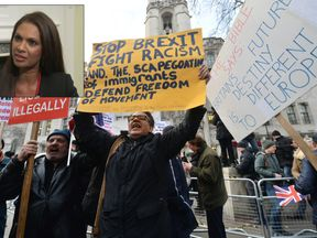 Gina Miller and demonstrators outside the Supreme Court