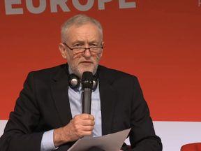 Jeremy Corbyn addresses a meeting of European socialists