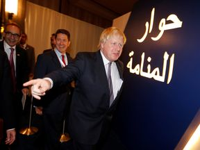 Foreign Secretary Boris Johnson arrives at 'The Manama Dialogue' conference in Bahrain