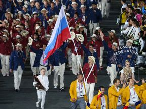 Russia's team at the London 2012 opening ceremony