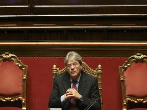 Paolo Gentiloni at a Senate meeting in Rome in April