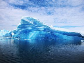 Calved icebergs from the nearby Twin Glaciers in Greenland