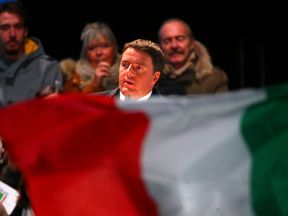 "Italian Prime Minister Matteo Renzi speaks during the last rally for a ""Yes"" vote"