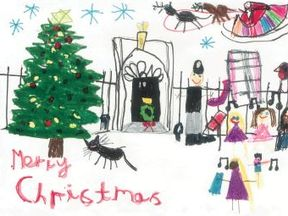 Five-year-old  Isabelle Milnes' designed this card