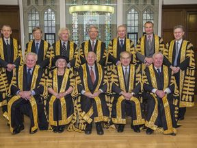 Members of the Supreme Court: (back row left to right) Lord Toulson (not sitting in the Article 50 case), Lord Carnwath, Lord Sumption, Lord Wilson, Lord Reed, Lord Hughes, Lord Hodge, (front row left-right) Lord Kerr, Lady Hale, Lord Neuberger, Lord Mance, Lord Clarke, who are the Justices of the Supreme Court of the UK who will be sitting on the Article 50 case.