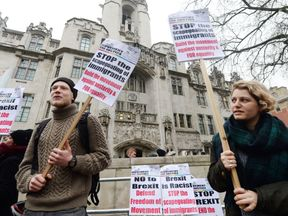 Protesters outside the Supreme Court in London