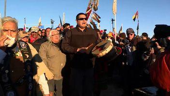 Native Americans celebrate the decision on the Dakota Access Oil Pipeline