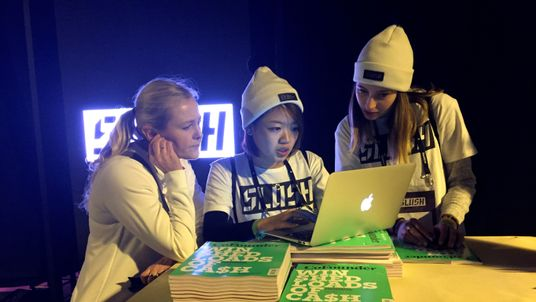 Female staff at a tech-start up conference in Finland. File picture