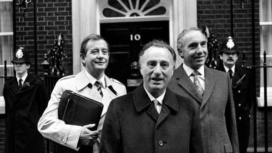 The stars of Yes Minister outside Downing Street in 1980
