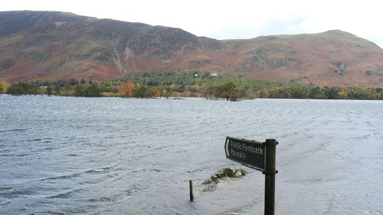 Flooding in Borrowdale, Cumbria, after the Original Mountain Marathon was cancelled due to adverse weather conditions in 2008